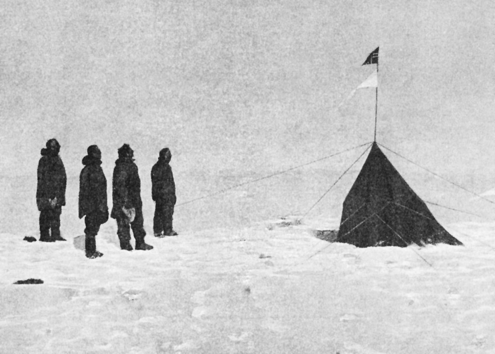 Roald Amundsen, Olav Olavson Bjaaland, Hilmer Hanssen, Sverre H. Hassel and Oscar Wisting by their South Pole marker tent and flag