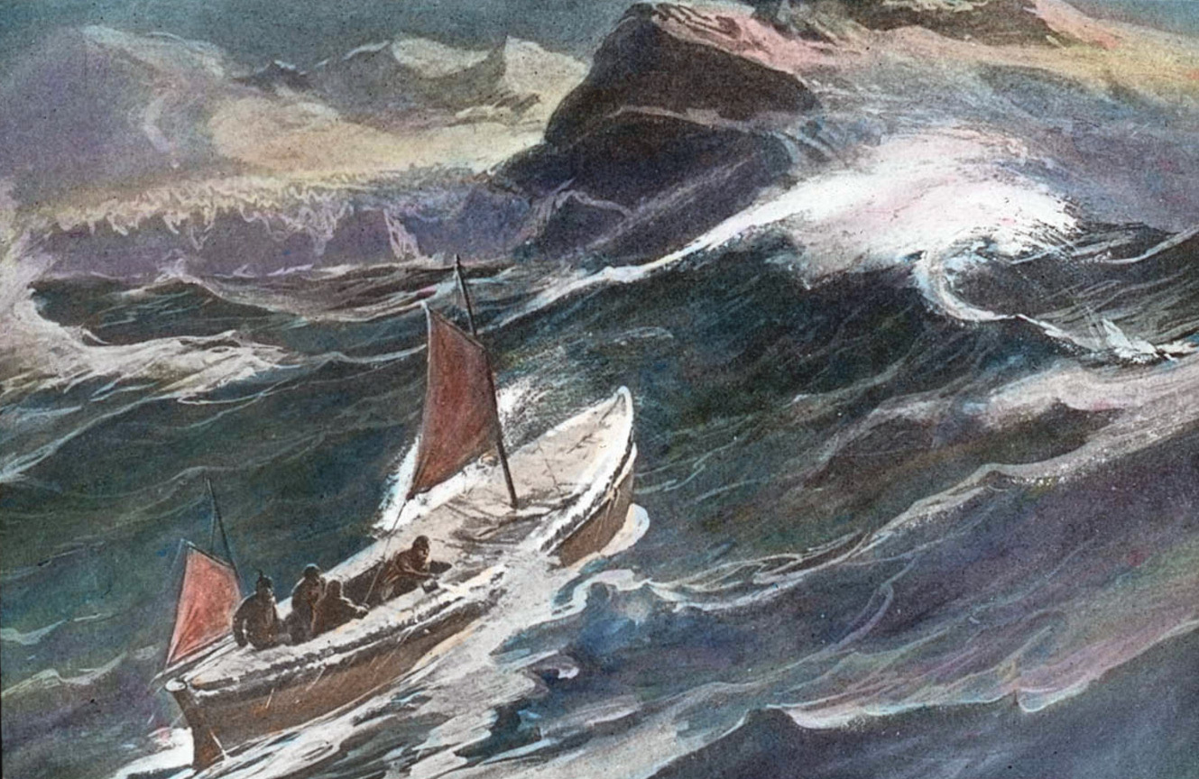 The James Caird at sea