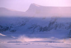 Antarctica weather, steaming ice-cracks