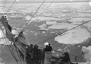 Pack ice seen on 31st Dec 1911, five men on deck and rigging of the Aurora