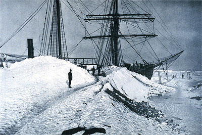 The Gauss, drifting snow had formed a long gangway onto the ships deck