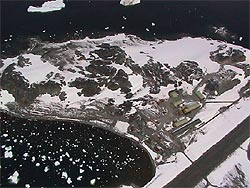 "Rothera Base and airstrip from the air - photo courtesy ""Jenny Doctor"""
