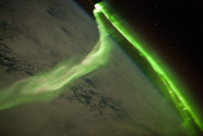 Picture of an aurora as seen from the International Space Station.
